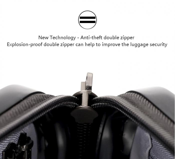 Anti-theft and Explosion-proof double zipper can help to improve the luggage security