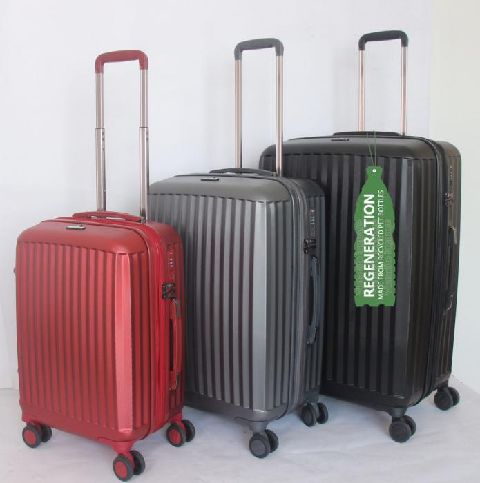 RPET luggage set are made of RPET material created from 100 post-consumer recycled PET bottles.