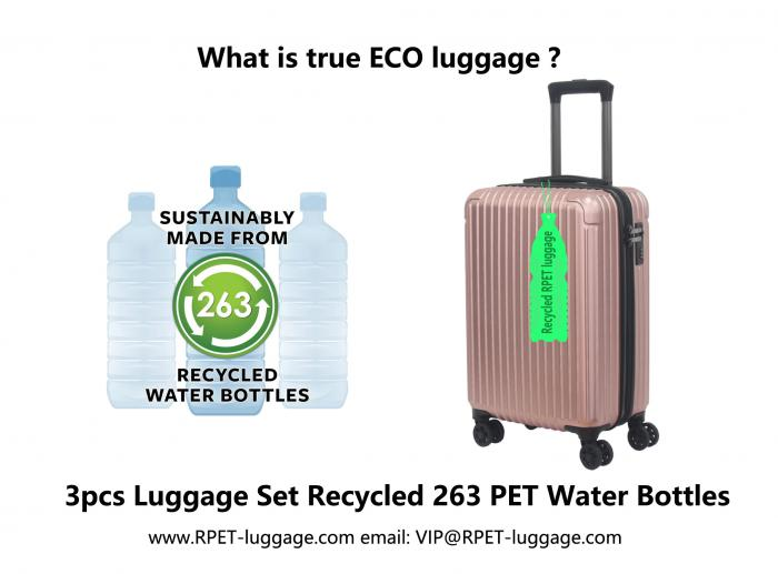 Just Sharing a True ECO-friendly 100 recycled PET bottles luggage- RPET luggage